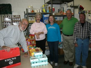 Volunteers collect and sort donations